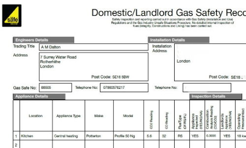 AM Dalton Plumbing Landlords Gas Safety Record